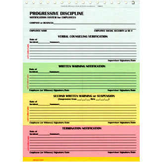 Business forms for Progressive discipline template